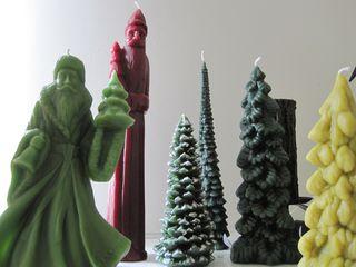 Closeup of santa and tree candles